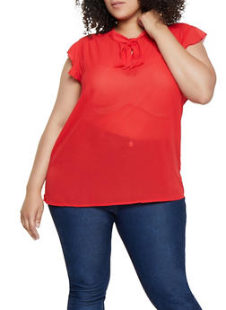 Plus Size Crepe Tie Neck Blouse - Red - Size 3X - 3803038340620