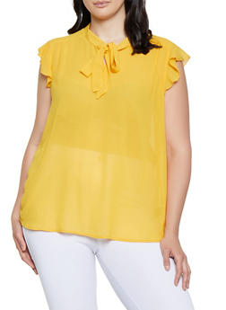 Plus Size Crepe Tie Neck Blouse - 3803038340620