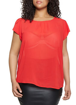 Plus Size Tulip Sleeve Pleated Blouse - 3803038340622