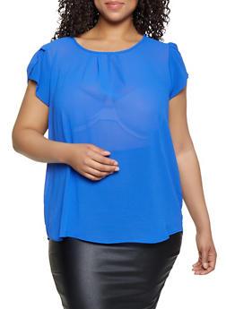 Plus Size Tulip Sleeve Pleated Blouse - 3803038340622