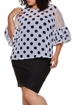 Plus Size Polka Dot Mesh Bell Sleeve Top - 3803038340626