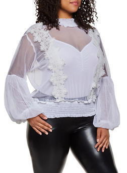 Plus Size Bubble Sleeve Mesh Top - 3803038340627