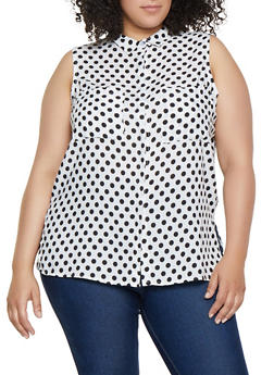Plus Size Polka Dot Sleeveless Shirt - 3803038340646
