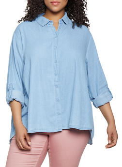 Plus Size Smocked Back Denim High Low Shirt - 3803038340651