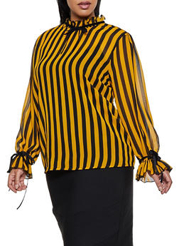 Plus Size Vertical Striped Blouse - 3803038340678