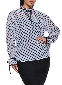 Plus Size Polka Dot Lip Print Blouse - 3803038340679