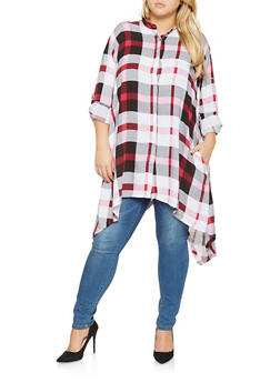 Plus Size Plaid Button Front Tunic Top - 3803038340682