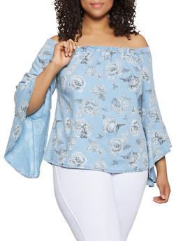 Plus Size Floral Chambray Off the Shoulder Top - 3803038340686
