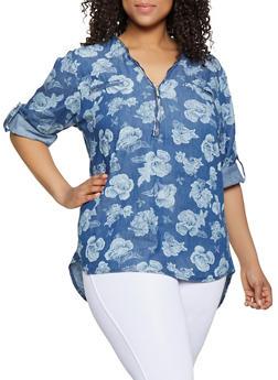 Plus Size Floral Denim Half Zip Top - 3803038340687