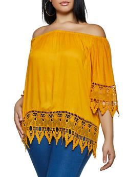 Plus Size Crochet Detail Off the Shoulder Top - 3803038340695