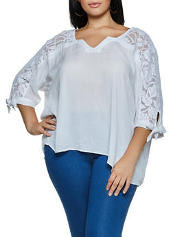 Plus Size Crochet Detail Top | 3803038340696 - 3803038340696
