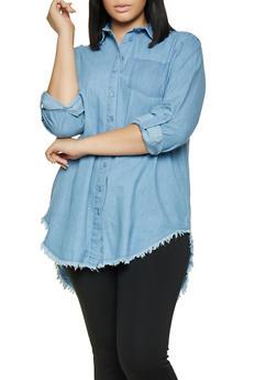 Plus Size Frayed Chambray Shirt - 3803038349570