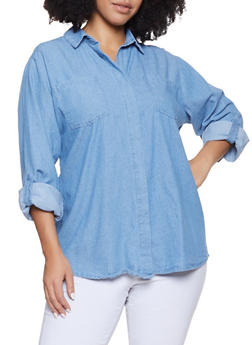 Plus Size Button Front Denim Shirt - 3803038349574