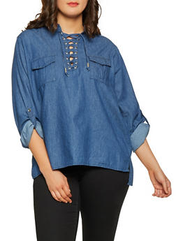Plus Size Lace Up Chambray Top - 3803038349575