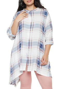 Plus Size Plaid Sharkbite Hem Shirt - 3803038349622
