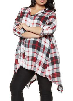 Plus Size Plaid Sharkbite Hem Shirt - 3803038349622