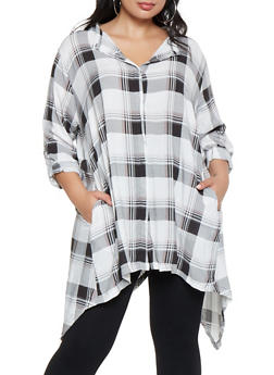 Plus Size Plaid Asymmetrical Button Front Shirt - 3803038349682