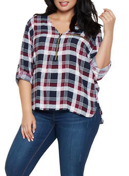 Plus Size Plaid Half Zip Top - 3803038349683