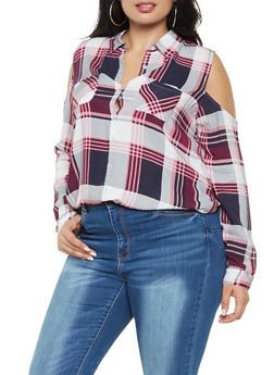 Plus Size Plaid Cold Shoulder Shirt - 3803038349684