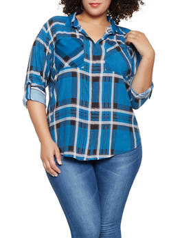 Plus Size Plaid High Low Shirt - 3803038349685
