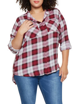 Plus Size Plaid High Low Shirt - 3803038349685