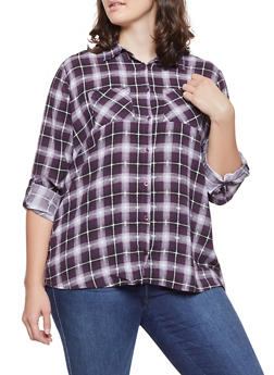 Plus Size Slit Back Plaid Shirt - 3803038349686