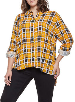 Plus Size Slit Back Plaid Shirt - 3803038349686