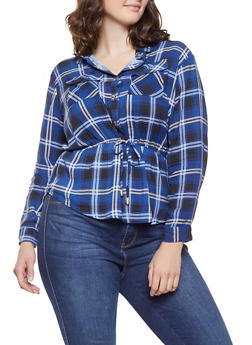 Plus Size Plaid Cinched Waist Shirt - 3803038349687