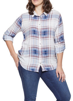 Plus Size Plaid Lace Up Back Shirt - 3803038349688
