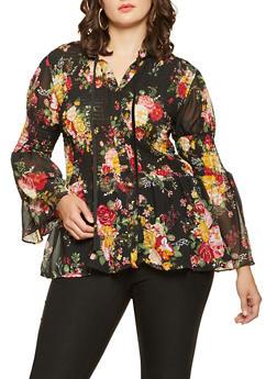 Plus Size Smocked Floral Shirt - 3803038349696