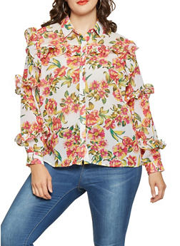 Plus Size Floral Ruffled Button Front Shirt - 3803038349698