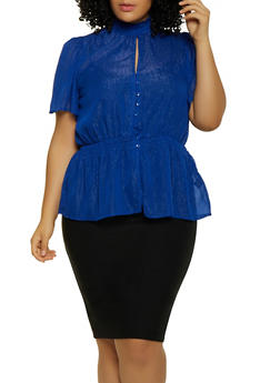 Plus Size Shimmer Knit Button Front Top - 3803051060142