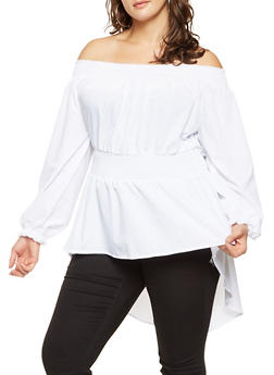 Plus Size Off the Shoulder Smocked High Low Top - 3803051060188