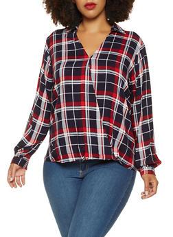 Plus Size Faux Wrap Plaid Top - NAVY - 3803051060276