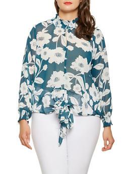 Plus Size Printed Smocked Neck Blouse - 3803051060296