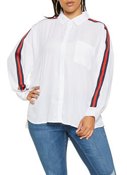 Plus Size Striped Tape Detail Shirt - 3803051060329