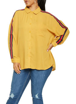 Plus Size Striped Tape Detail Shirt - 3803051060329