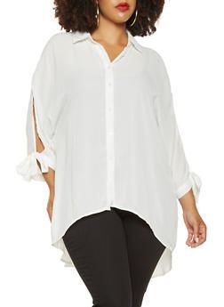 Plus Size Tie Sleeve Tunic Shirt - 3803051060337