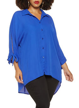 Plus Size Tie Sleeve Tunic Shirt - 3803051060337