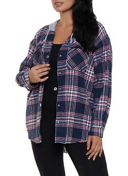 Plus Size Plaid Hooded Shirt - 3803051060343