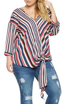 Plus Size Striped Tie Front Top - 3803051060358