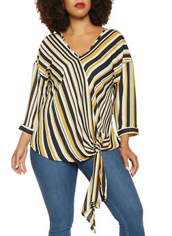 Plus Size Striped Tie Front Top - 3803051060358