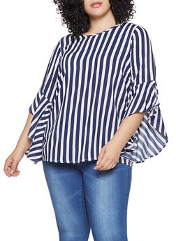 Plus Size Striped Bell Sleeve Top - 3803051060360