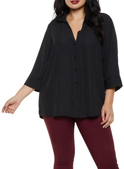 Plus Size Crepe Three Quarter Sleeve Shirt - 3803051060361