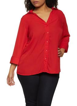 Plus Size Crepe Three Quarter Sleeve Shirt - 3803051060361