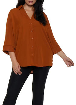 Plus Size Crepe Knit Button Front Shirt - 3803051060362