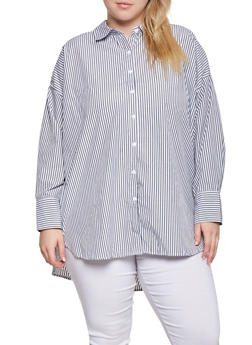 Plus Size Button Front Tunic Top - 3803051060367