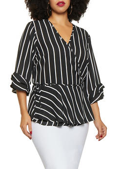 Plus Size Striped Tie Front Blouse - BLACK - 3803051060403