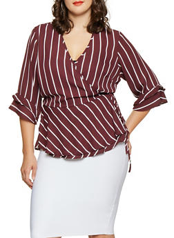 Plus Size Striped Tie Front Blouse - 3803051060403