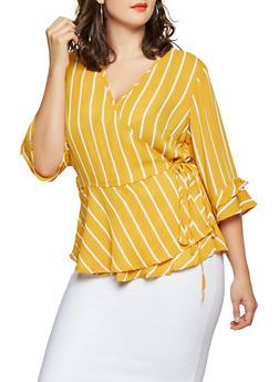 Plus Size Striped Tie Front Blouse - 3803051060403